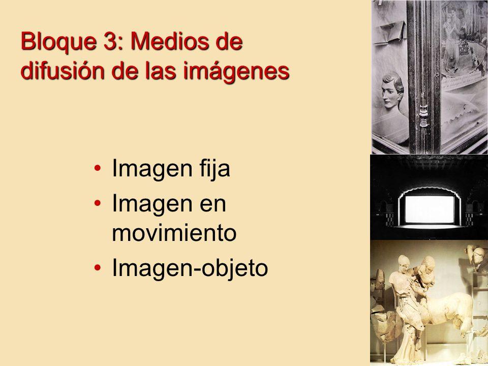 Bloque 3: Medios de difusión de las imágenes Imagen fija Imagen en movimiento Imagen-objeto