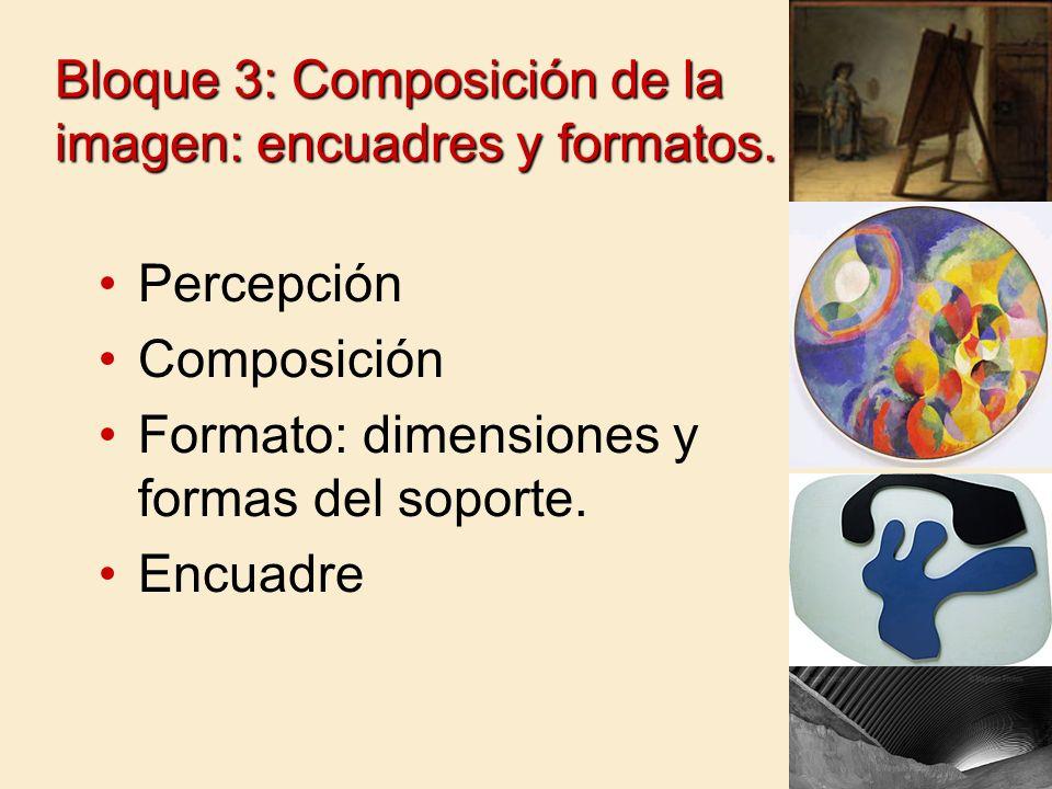 Bloque 3: Composición de la imagen: encuadres y formatos. Percepción Composición Formato: dimensiones y formas del soporte. Encuadre