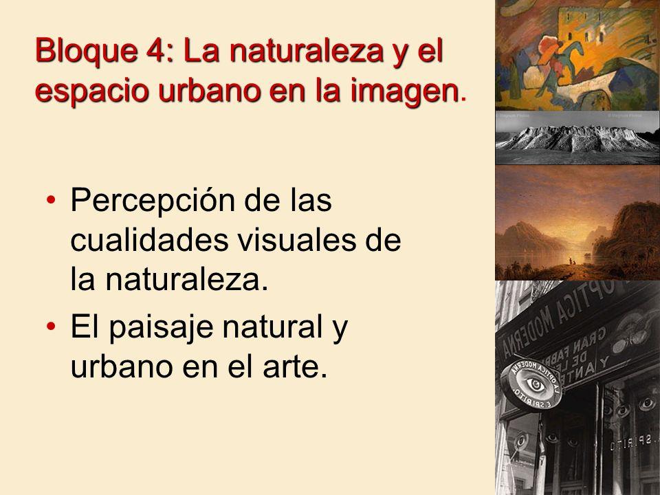 Bloque 4: La naturaleza y el espacio urbano en la imagen Bloque 4: La naturaleza y el espacio urbano en la imagen. Percepción de las cualidades visual