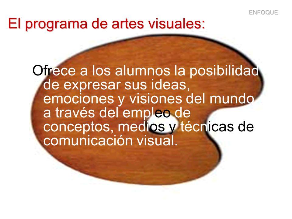 El programa de artes visuales: Ofrece a los alumnos la posibilidad de expresar sus ideas, emociones y visiones del mundo, a través del empleo de conce
