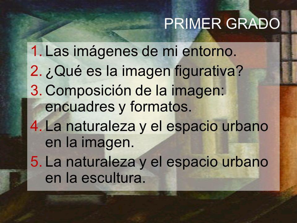PRIMER GRADO 1.Las imágenes de mi entorno. 2.¿Qué es la imagen figurativa? 3.Composición de la imagen: encuadres y formatos. 4.La naturaleza y el espa