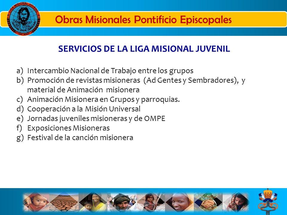 SERVICIOS DE LA LIGA MISIONAL JUVENIL a)Intercambio Nacional de Trabajo entre los grupos b)Promoción de revistas misioneras (Ad Gentes y Sembradores),