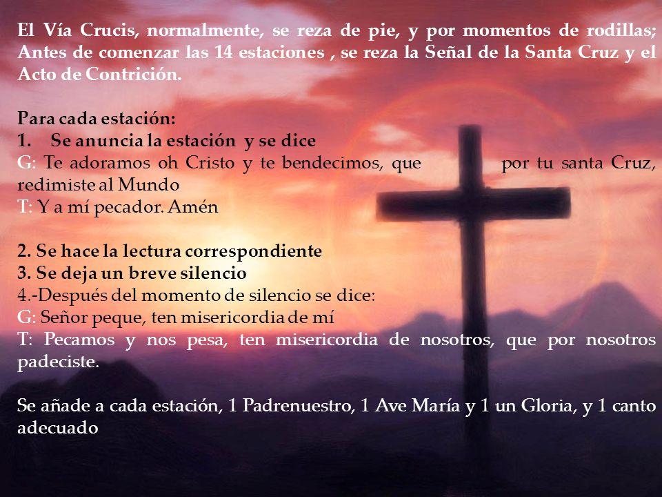El Vía Crucis, normalmente, se reza de pie, y por momentos de rodillas; Antes de comenzar las 14 estaciones, se reza la Señal de la Santa Cruz y el Ac