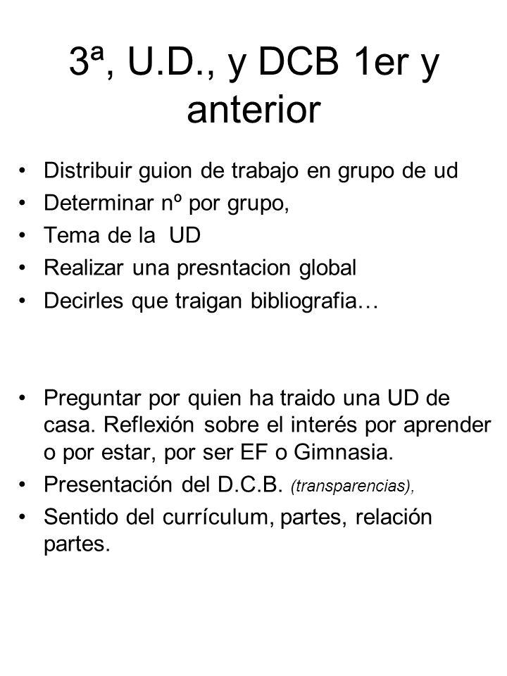 3ª, U.D., y DCB 1er y anterior Distribuir guion de trabajo en grupo de ud Determinar nº por grupo, Tema de la UD Realizar una presntacion global Decir