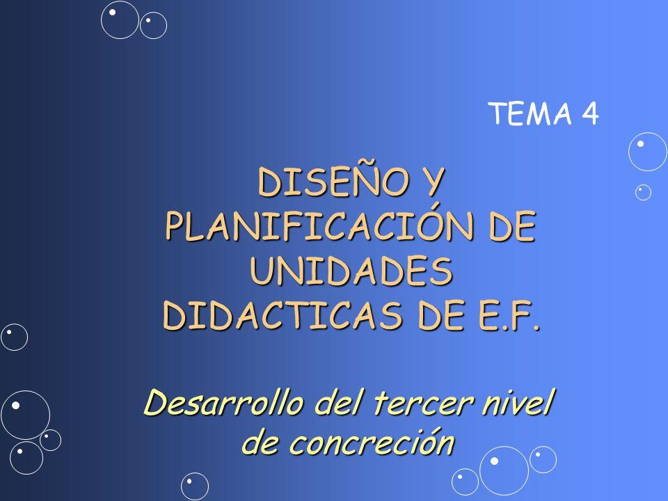 TEMA 4 DISEÑO Y PLANIFICACIÓN DE UNIDADES DIDACTICAS DE E.F. Desarrollo del tercer nivel de concreción