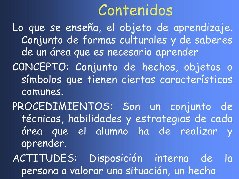 Lo que se enseña, el objeto de aprendizaje. Conjunto de formas culturales y de saberes de un área que es necesario aprender C0NCEPTO: Conjunto de hech