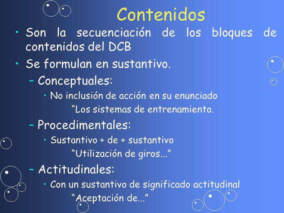 Son la secuenciación de los bloques de contenidos del DCB Se formulan en sustantivo. – –Conceptuales: No inclusión de acción en su enunciado Los siste