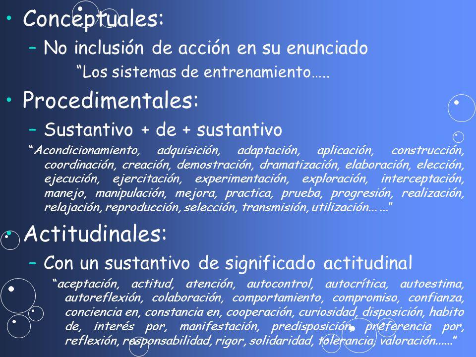 Conceptuales: – –No inclusión de acción en su enunciado Los sistemas de entrenamiento….. Procedimentales: – –Sustantivo + de + sustantivo Acondicionam