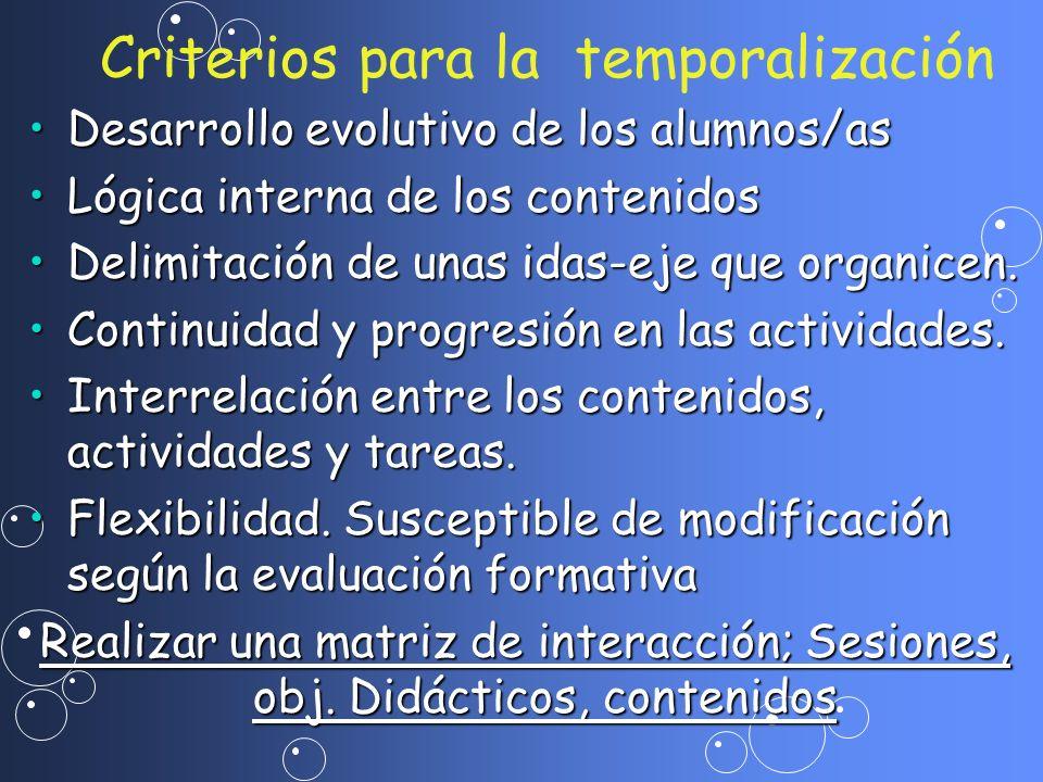 Criterios para la temporalización Desarrollo evolutivo de los alumnos/asDesarrollo evolutivo de los alumnos/as Lógica interna de los contenidosLógica