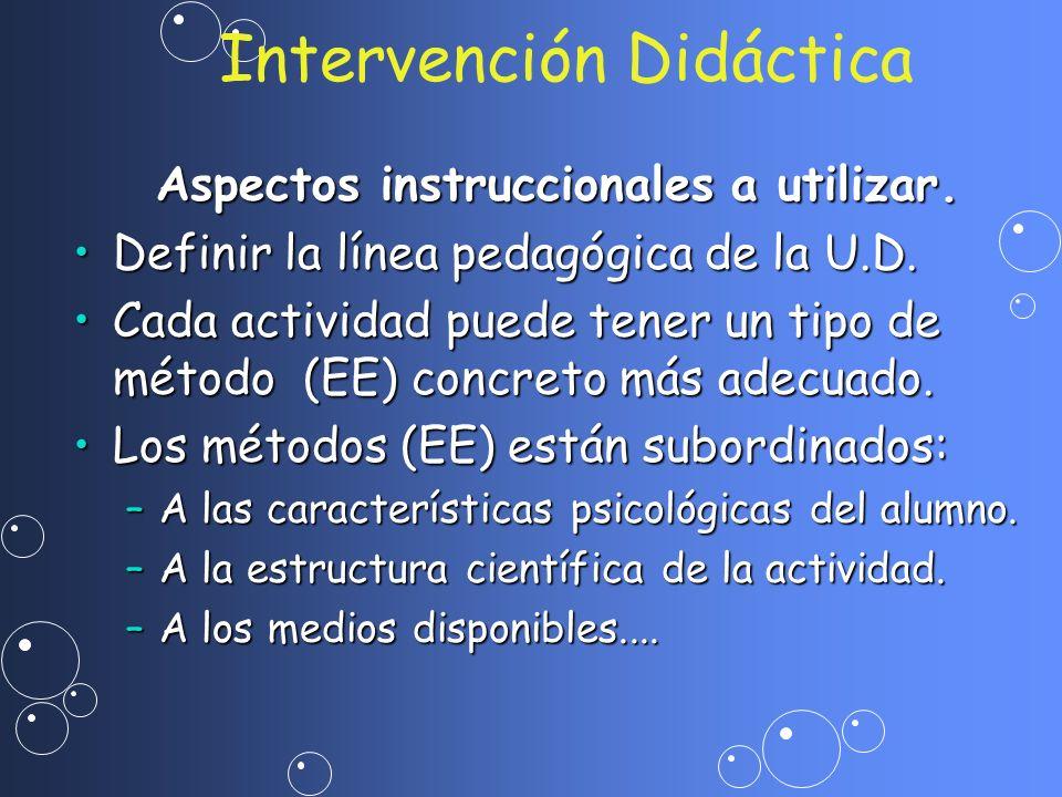 Intervención Didáctica Aspectos instruccionales a utilizar. Definir la línea pedagógica de la U.D.Definir la línea pedagógica de la U.D. Cada activida