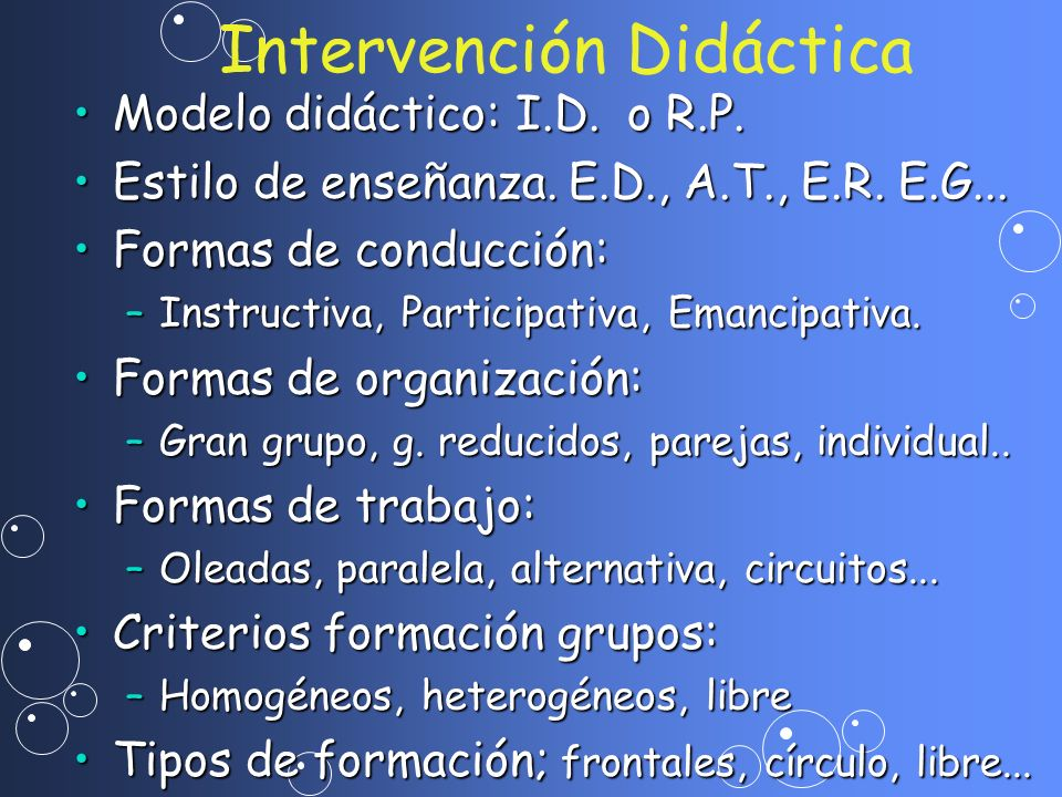Intervención Didáctica Modelo didáctico: I.D. o R.P.Modelo didáctico: I.D. o R.P. Estilo de enseñanza. E.D., A.T., E.R. E.G...Estilo de enseñanza. E.D