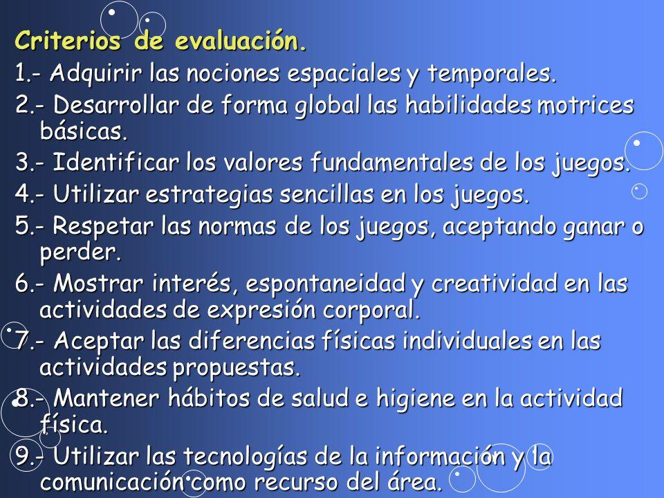 Criterios de evaluación. 1.- Adquirir las nociones espaciales y temporales. 2.- Desarrollar de forma global las habilidades motrices básicas. 3.- Iden