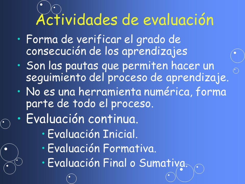 Forma de verificar el grado de consecución de los aprendizajes Son las pautas que permiten hacer un seguimiento del proceso de aprendizaje. No es una