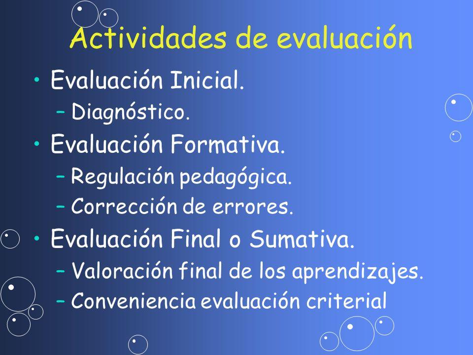 Evaluación Inicial. – –Diagnóstico. Evaluación Formativa. – –Regulación pedagógica. – –Corrección de errores. Evaluación Final o Sumativa. – –Valoraci