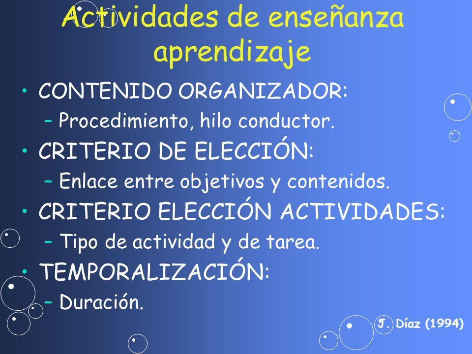 CONTENIDO ORGANIZADOR : – –Procedimiento, hilo conductor. CRITERIO DE ELECCIÓN: – –Enlace entre objetivos y contenidos. CRITERIO ELECCIÓN ACTIVIDADES: