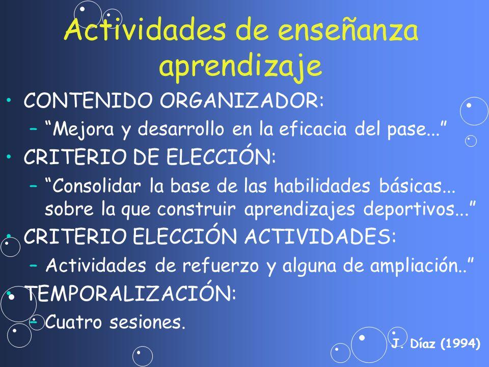 CONTENIDO ORGANIZADOR: – –Mejora y desarrollo en la eficacia del pase... CRITERIO DE ELECCIÓN: – –Consolidar la base de las habilidades básicas... sob