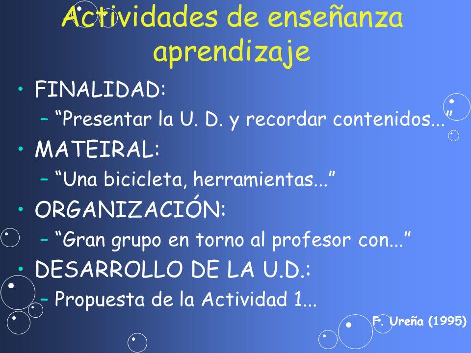 FINALIDAD: – –Presentar la U. D. y recordar contenidos... MATEIRAL: – –Una bicicleta, herramientas... ORGANIZACIÓN: – –Gran grupo en torno al profesor