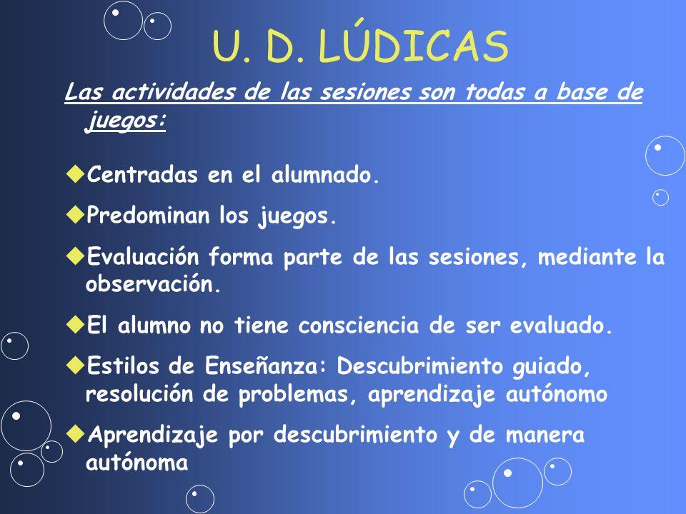 U. D. LÚDICAS Las actividades de las sesiones son todas a base de juegos: uCentradas en el alumnado. uPredominan los juegos. uEvaluación forma parte d