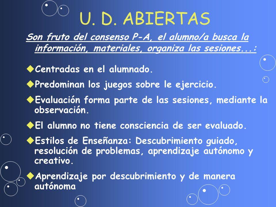 U. D. ABIERTAS Son fruto del consenso P-A, el alumno/a busca la información, materiales, organiza las sesiones...: uCentradas en el alumnado. uPredomi
