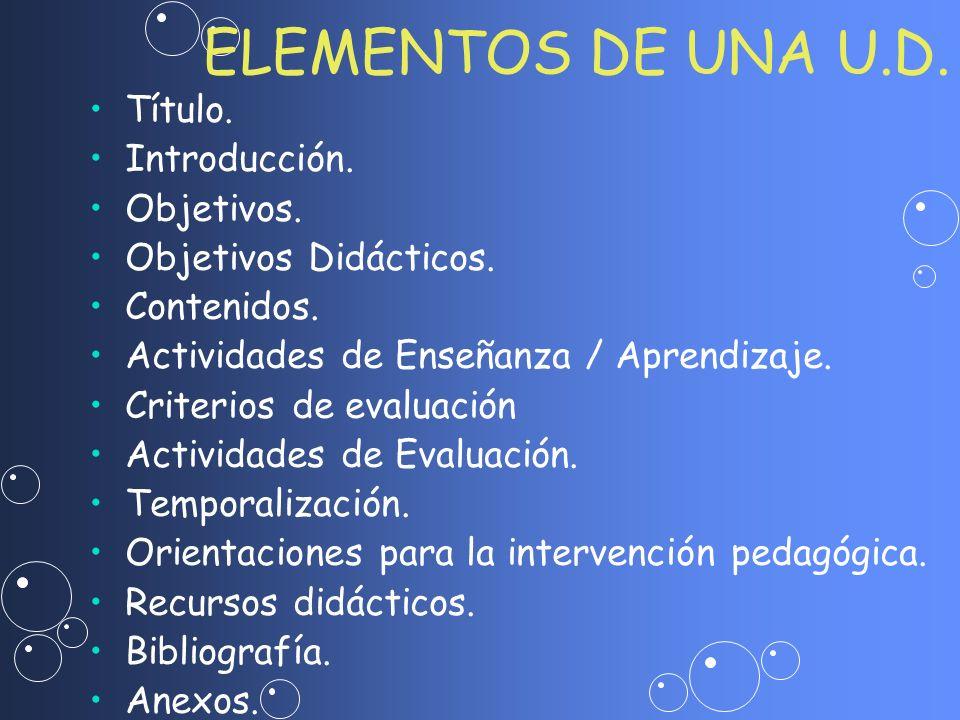 ELEMENTOS DE UNA U.D. Título. Introducción. Objetivos. Objetivos Didácticos. Contenidos. Actividades de Enseñanza / Aprendizaje. Criterios de evaluaci
