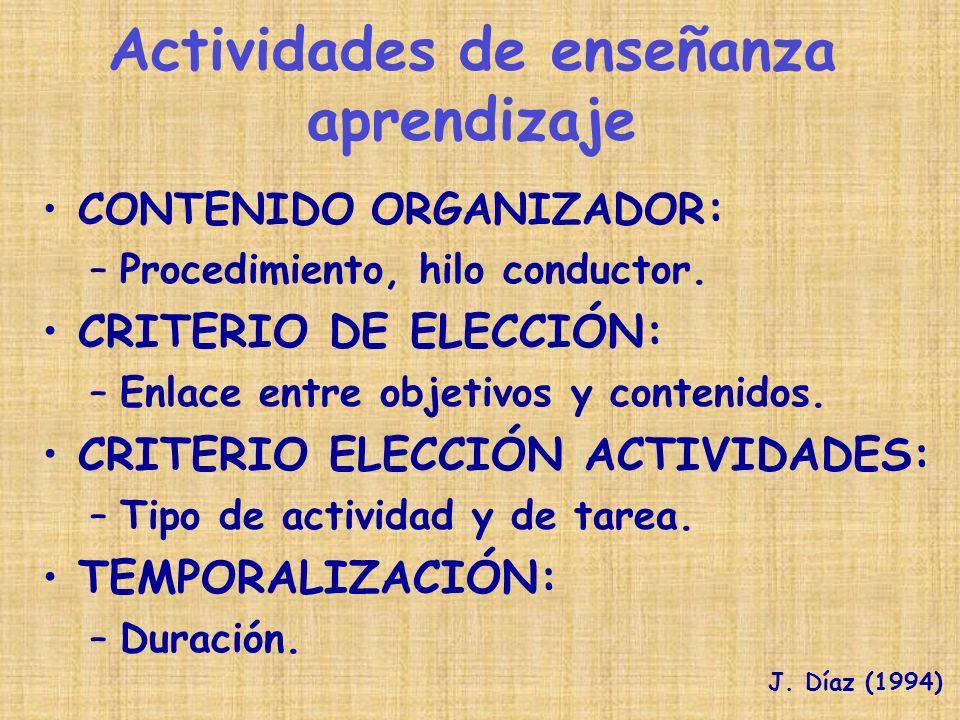 CONTENIDO ORGANIZADOR : –Procedimiento, hilo conductor. CRITERIO DE ELECCIÓN: –Enlace entre objetivos y contenidos. CRITERIO ELECCIÓN ACTIVIDADES: –Ti