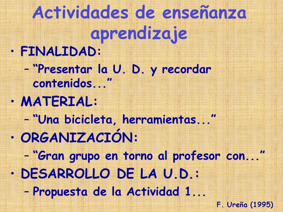 FINALIDAD: –Presentar la U. D. y recordar contenidos... MATERIAL: –Una bicicleta, herramientas... ORGANIZACIÓN: –Gran grupo en torno al profesor con..