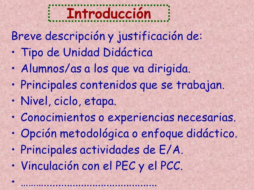 Introducción Breve descripción y justificación de: Tipo de Unidad Didáctica Alumnos/as a los que va dirigida. Principales contenidos que se trabajan.