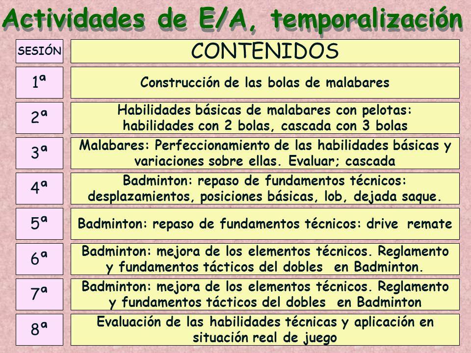 Actividades de E/A, temporalización SESIÓN 3ª 4ª 5ª 6ª 7ª 8ª 2ª 1ª Malabares: Perfeccionamiento de las habilidades básicas y variaciones sobre ellas.
