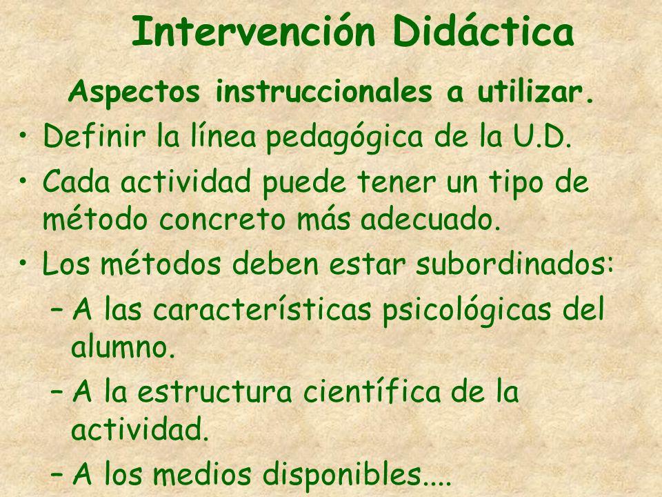 Intervención Didáctica Aspectos instruccionales a utilizar. Definir la línea pedagógica de la U.D. Cada actividad puede tener un tipo de método concre