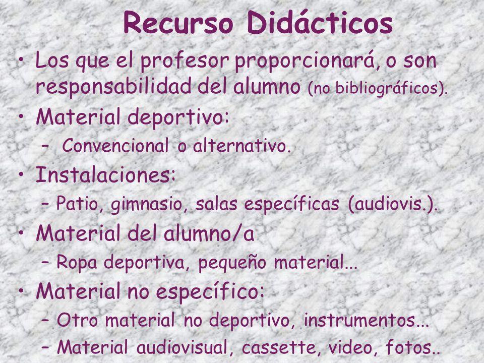 Recurso Didácticos Los que el profesor proporcionará, o son responsabilidad del alumno (no bibliográficos). Material deportivo: – Convencional o alter