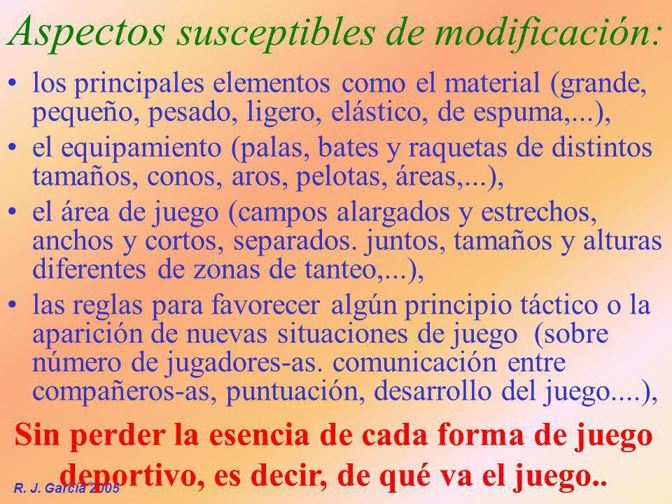 R. J. García 2005 los principales elementos como el material (grande, pequeño, pesado, ligero, elástico, de espuma,...), el equipamiento (palas, bates