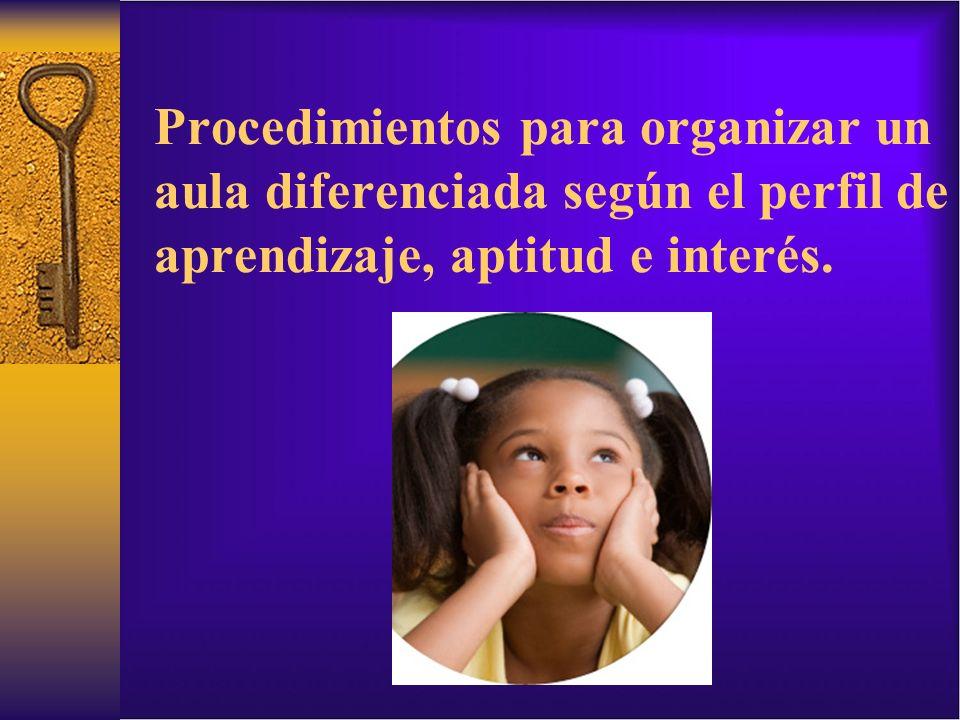 Procedimientos para organizar un aula diferenciada según el perfil de aprendizaje, aptitud e interés.