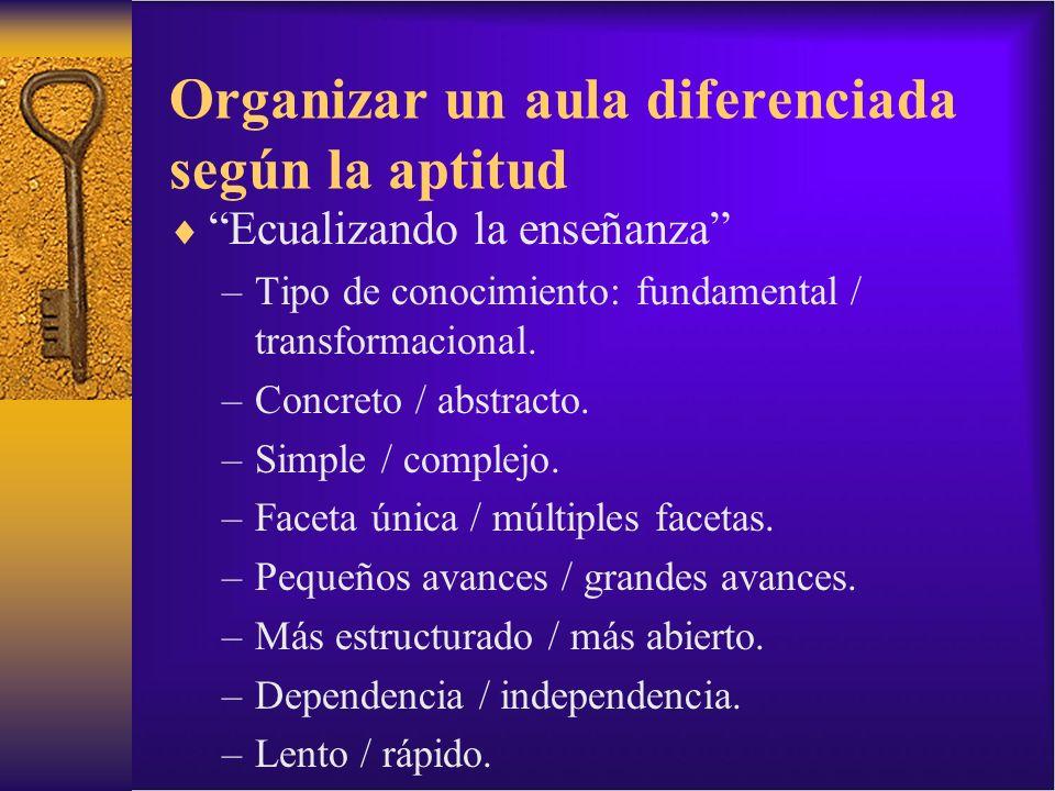 Organizar un aula diferenciada según la aptitud Ecualizando la enseñanza –Tipo de conocimiento: fundamental / transformacional. –Concreto / abstracto.