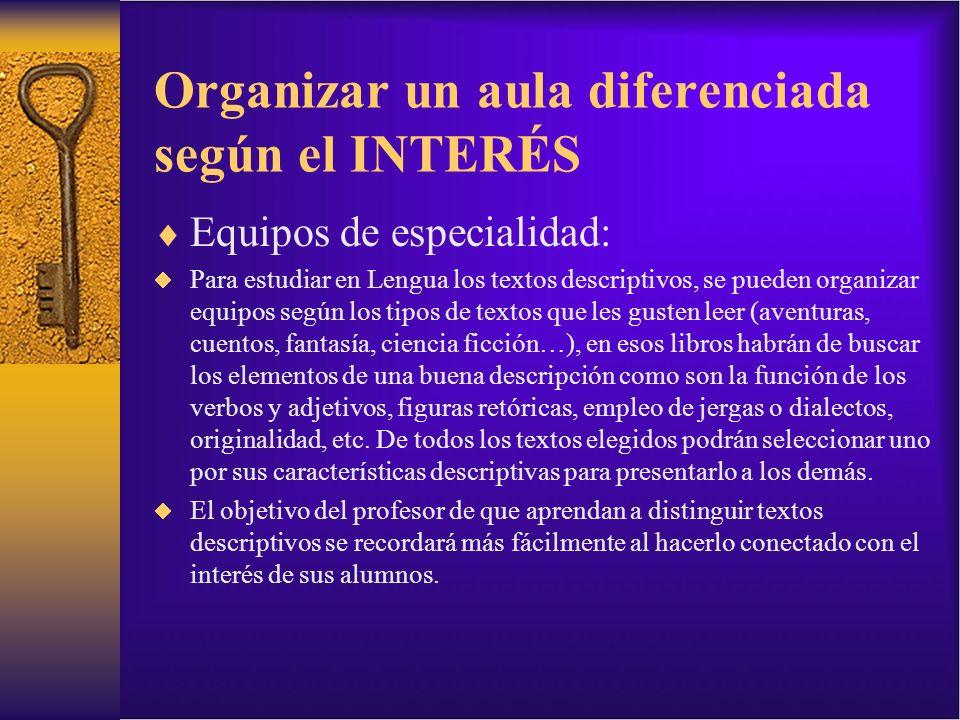Organizar un aula diferenciada según el INTERÉS Equipos de especialidad: Para estudiar en Lengua los textos descriptivos, se pueden organizar equipos