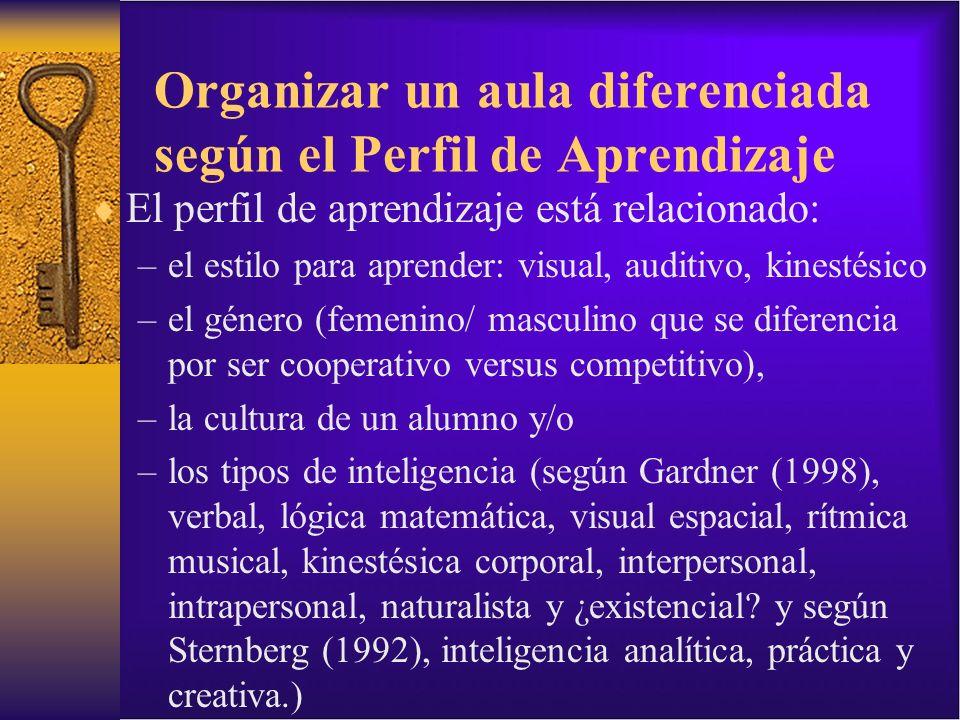 Organizar un aula diferenciada según el Perfil de Aprendizaje El perfil de aprendizaje está relacionado: –el estilo para aprender: visual, auditivo, k