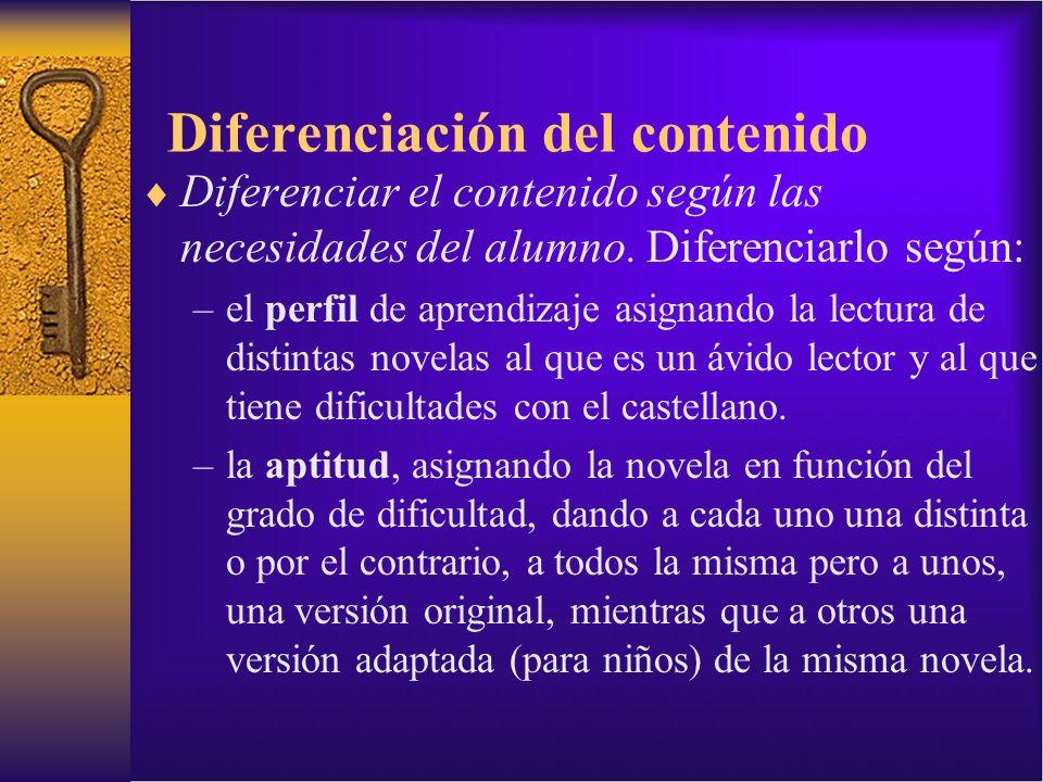 Diferenciación del contenido Diferenciar el contenido según las necesidades del alumno. Diferenciarlo según: –el perfil de aprendizaje asignando la le