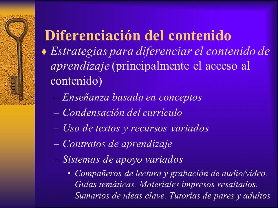 Diferenciación del contenido Estrategias para diferenciar el contenido de aprendizaje (principalmente el acceso al contenido) –Enseñanza basada en con