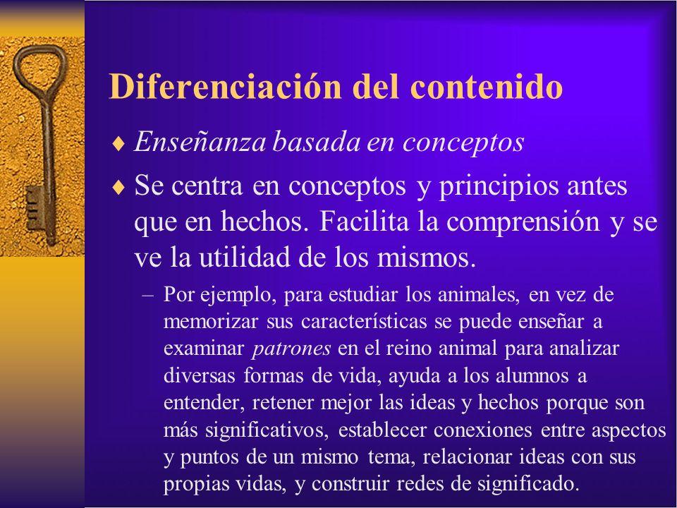 Diferenciación del contenido Enseñanza basada en conceptos Se centra en conceptos y principios antes que en hechos. Facilita la comprensión y se ve la