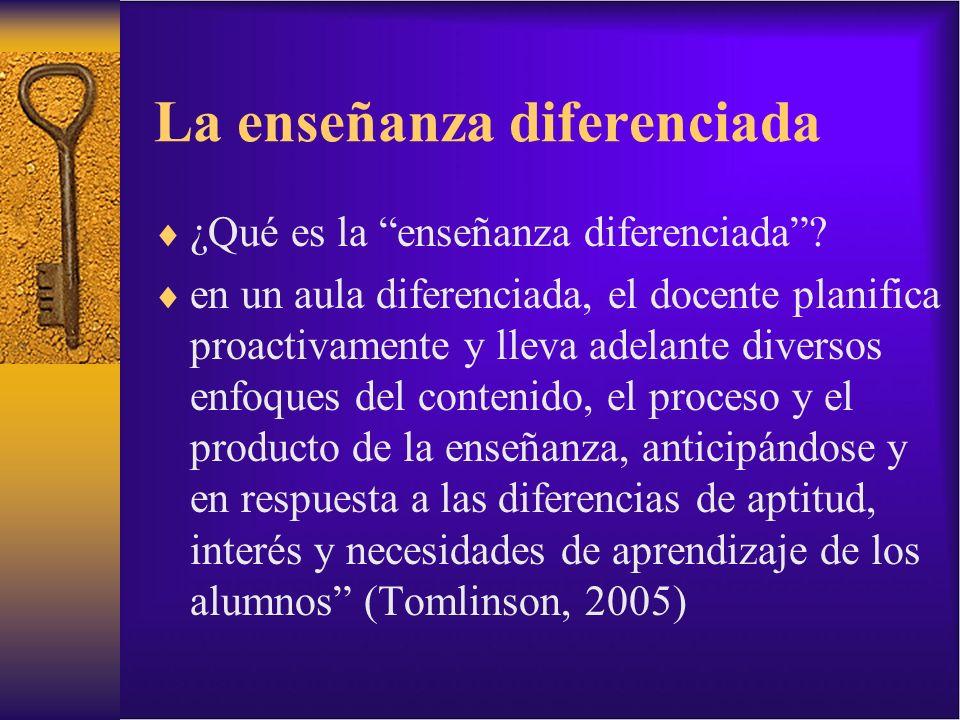 La enseñanza diferenciada ¿Qué es la enseñanza diferenciada? en un aula diferenciada, el docente planifica proactivamente y lleva adelante diversos en