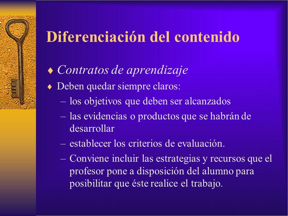 Diferenciación del contenido Contratos de aprendizaje Deben quedar siempre claros: –los objetivos que deben ser alcanzados –las evidencias o productos