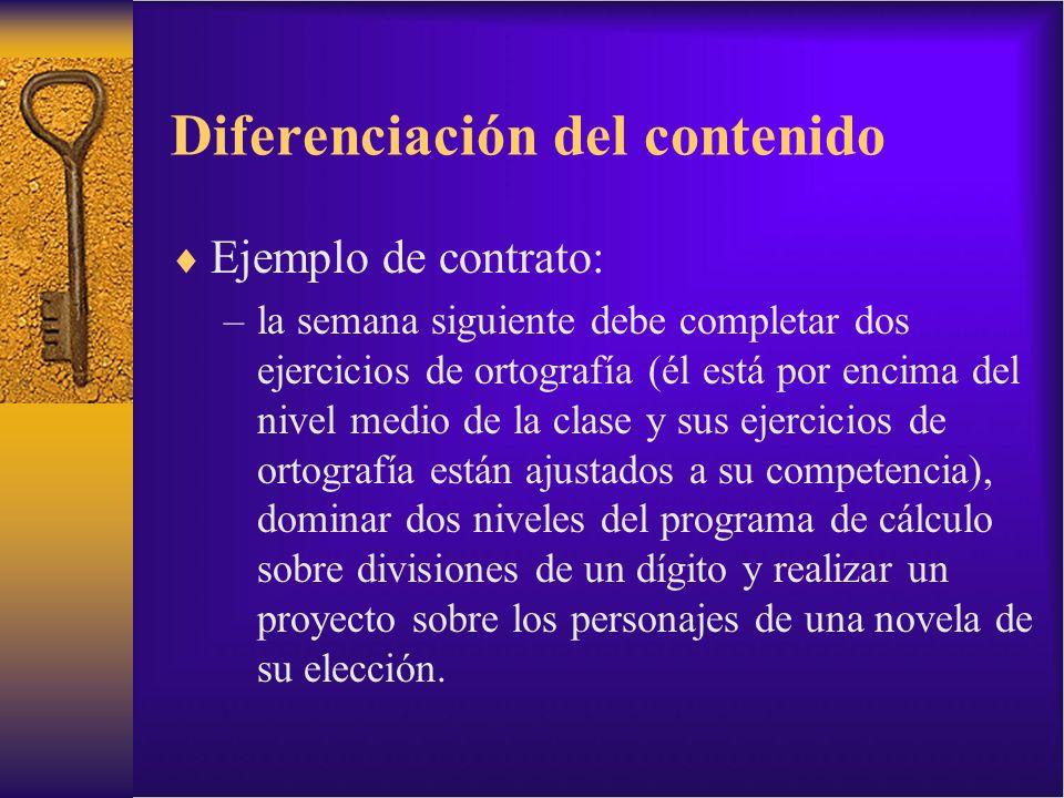 Diferenciación del contenido Ejemplo de contrato: –la semana siguiente debe completar dos ejercicios de ortografía (él está por encima del nivel medio