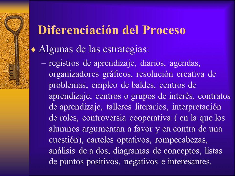Diferenciación del Proceso Algunas de las estrategias: –registros de aprendizaje, diarios, agendas, organizadores gráficos, resolución creativa de pro