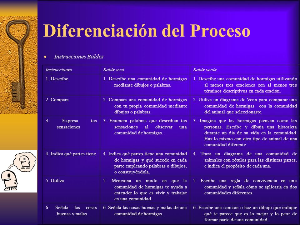 Diferenciación del Proceso Instrucciones Baldes InstruccionesBalde azulBalde verde 1. Describe1. Describe una comunidad de hormigas mediante dibujos o