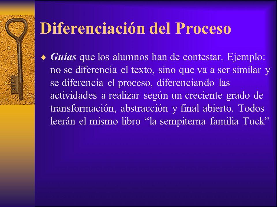 Diferenciación del Proceso Guías que los alumnos han de contestar. Ejemplo: no se diferencia el texto, sino que va a ser similar y se diferencia el pr