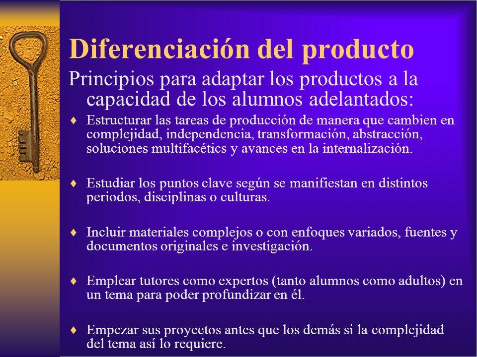 Diferenciación del producto Principios para adaptar los productos a la capacidad de los alumnos adelantados: Estructurar las tareas de producción de m