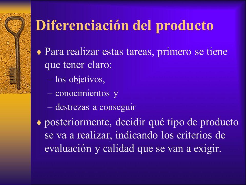 Diferenciación del producto Para realizar estas tareas, primero se tiene que tener claro: –los objetivos, –conocimientos y –destrezas a conseguir post