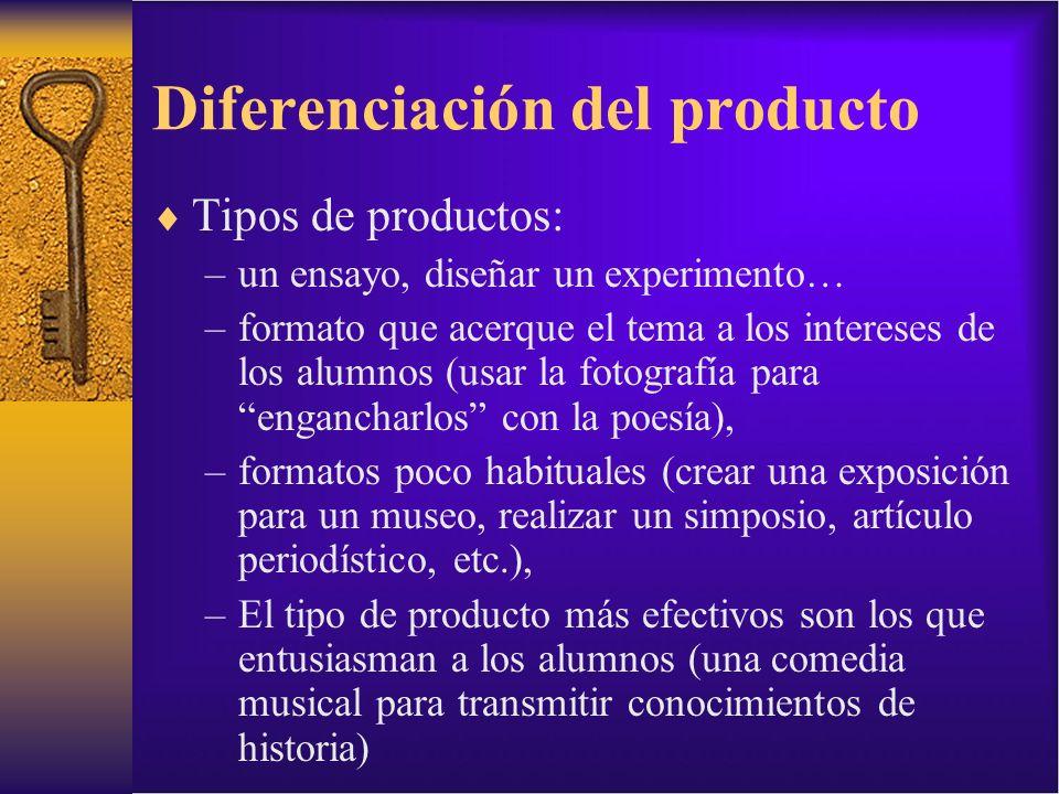 Diferenciación del producto Tipos de productos: –un ensayo, diseñar un experimento… –formato que acerque el tema a los intereses de los alumnos (usar