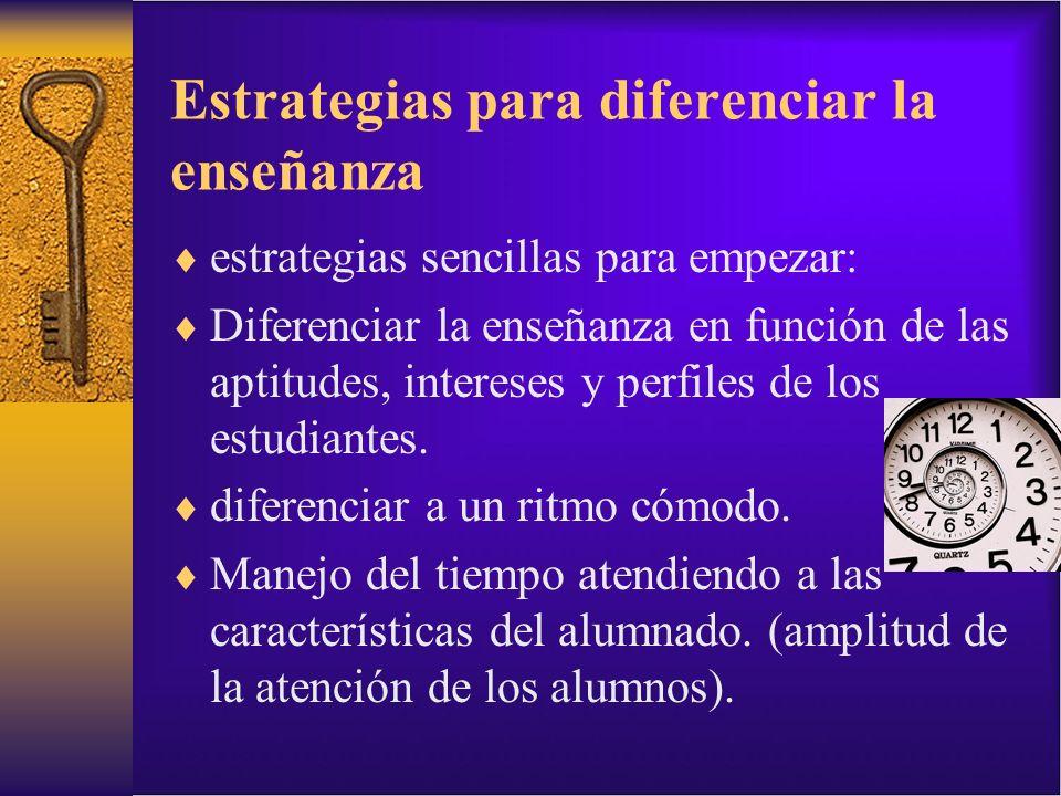 Estrategias para diferenciar la enseñanza estrategias sencillas para empezar: Diferenciar la enseñanza en función de las aptitudes, intereses y perfil
