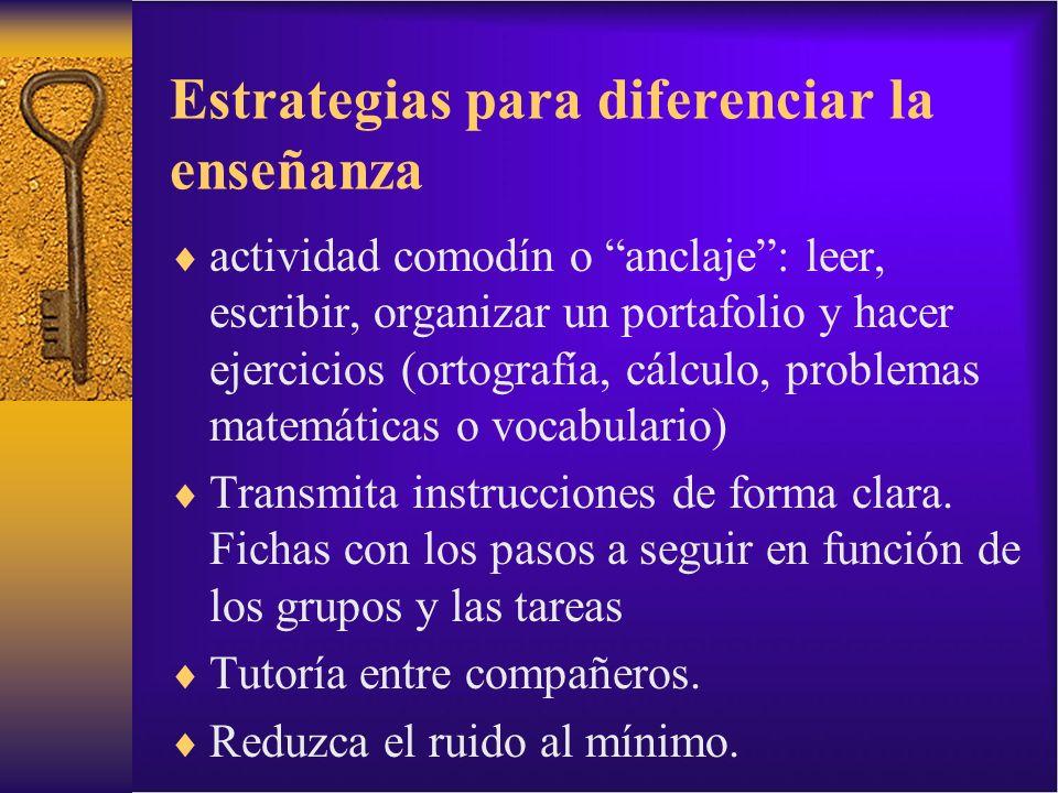 Estrategias para diferenciar la enseñanza actividad comodín o anclaje: leer, escribir, organizar un portafolio y hacer ejercicios (ortografía, cálculo