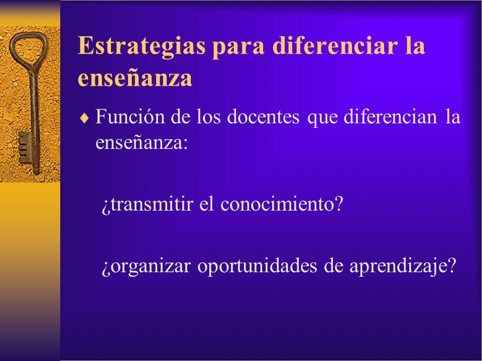 Estrategias para diferenciar la enseñanza Función de los docentes que diferencian la enseñanza: ¿transmitir el conocimiento? ¿organizar oportunidades